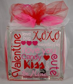 Valentines Day Glass Block - Lighted Valentines Day Glass Block - Decorative Valentines Day Lamp - Valentines Day Night Light by CrazyCraftersFun on Etsy https://www.etsy.com/listing/262286425/valentines-day-glass-block-lighted