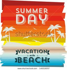 invited vacation on the beach over landscape background vector illustration  - stock vector