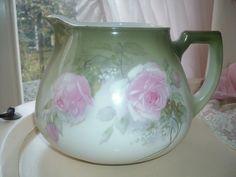 Antique pitcher Bavaria with roses van MyVintageRoseShop op Etsy