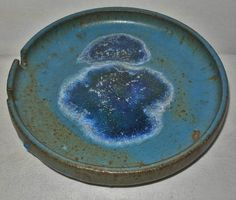 MAGNIFICENT Mid Century MODERN Rich BLUE Art POTTERY ASHTRAY in Great Condition