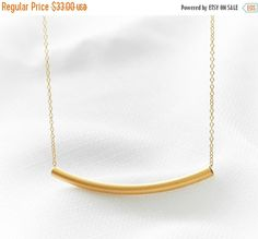 CYBER MONDAY SALE Gold tube necklace Curved tube by HLcollection