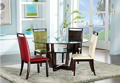 picture of Ciara Espresso 5 Pc Dining Set with Brown Chairs  from Dining Room Sets Furniture