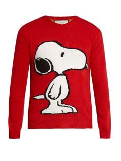GUCCI Snoopy Intarsia Wool Crew-Neck Sweater. #gucci #cloth #sweater
