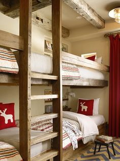 Built in bunks- COOL! Kelly and Abramson Architecture: Fantastic ski chalet bunk room with exposed wood beamed ceiling. The built-in bunks are . Bunk Beds Built In, Kids Bunk Beds, Cabin Bunk Beds, Rustic Bunk Beds, Bunk Bed Ideas For Small Rooms, Bunk Bed Wall, Cabin Bedrooms, Adult Bunk Beds, Cabin Interiors