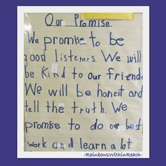 First Grade Promise for Positive Behavior, Classroom Rules, blog article has 19 different classroom pledges, lists of rules -- many handwritten by children