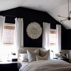 How many of you like dark walls in a bedroom? Color is Graphite by Benjamin Moore