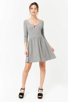 Ribbed Knit Keyhole Dress