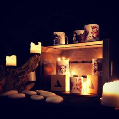 Candlelight and mugs... Follow us on facebook.  #mug #candles #hippster #magic #boho #bohochic #grunge #grungegirl #awesome #illustration #art #triangleandcat
