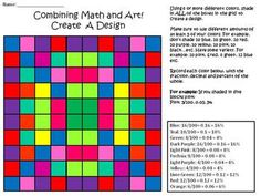 Free Math Activity: Create a Design (Uses Fractions, Decimals, and Percents - worksheet included)