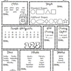 Pre-K Assessment Forms   Data collection sheets, Preschool and Math