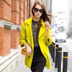 2015 new high-end handmade wool fleece coat female woolen jacket USD$395.00