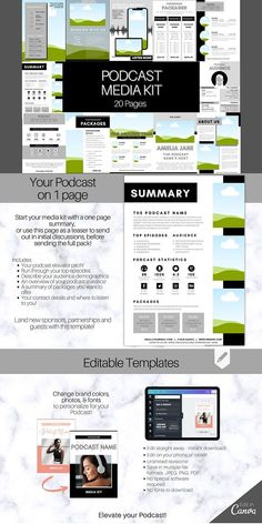 Podcast MEDIA KIT Template! Use this 20 page editable Canva Press Kit Template to pitch and market your podcast! Perfect for podcasters looking to pitch their rate sheet and generate new sponsorships! Ideal for bloggers and influencers to market your brand. Includes 20 pages which can be edited on Canva! Templates include a summary sheet (which can be used as a one-pager) #modern #Template #Graphicdesign #Graphics #creative #New #Creative #Resources Media Kit Template, Press Kit, Graphic Design Templates, First Page, Summary, Pitch, Teaser, Icon Design, Graphics