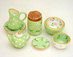 1/12TH scale - set of hand painted kitchenware in pale green  - by Lory