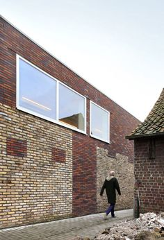 Brick infill and extension of an old building, Community Centre Westvleteren by Atelier Tom Vanhee, via Dezeen Brick Architecture, Education Architecture, Residential Architecture, Contemporary Architecture, Concrete Building, Old Building, Brick Facade, Brick Wall, Village Houses