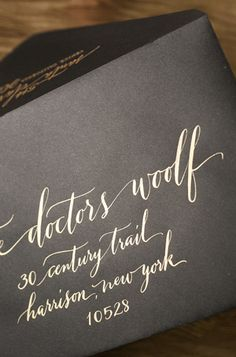 Oh So Beautiful Paper: Jaymie + Miles's Calligraphy Gold Foil Wedding Invitations