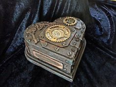 Steampunk heart shaped trinket box distressed and 'rusted' metal look