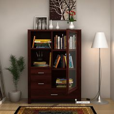 This multi-utility #bookshelf is an #ultimate piece to give a classy and modern feel to you and your #home. The Pietro #book case has amazing three #drawers, two open shelves along with three shelves with #glass #door.
