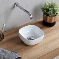 Scarabeo by Nameeks Specialty Ceramic Vessel Bathroom Sink | Wayfair Small Vessel Sinks, Small Bathroom Sinks, Wall Mounted Bathroom Sinks, Pool Bathroom, Bathroom Colors, Bathroom Ideas, Ceramic Undermount Sink, Lavatory Sink, Ceramic Sink