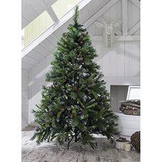 Árbol de Navidad verde nevado de 180cm PIÑAS Y ACEBO