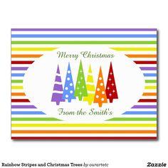 Rainbow Stripes and Christmas Trees Postcard