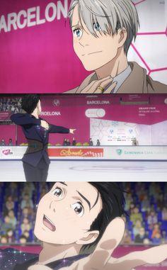 Yuri is reaching toward Victor! Me Anime, Fanarts Anime, Anime Guys, Manga Anime, Yuri On Ice, Katsuki Yuri, Fangirl, ユーリ!!! On Ice, Anime Ships