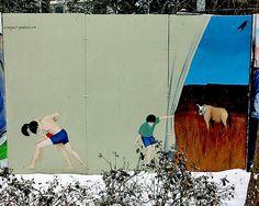 NYC street art images of males with Esteban del Valle, Swoon and Claude Monet, Vincent Van Gogh, New York Street Art, Las Vegas, Street Art Photography, Hip Hop Art, East Village, Street Artists, Art Images