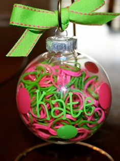Personalized Rainbow Loom Ornament filled with bands! GREAT gift idea ♥