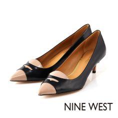 NINE WEST 知性典雅淑女款 細緻樂福設計低跟鞋-黑駝配 - Yahoo!奇摩購物中心