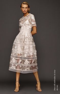 Romee Strijd for Holt Renfrew, Spring 2017 Little White Dresses, Lovely Dresses, Day Dresses, Couture Fashion, Runway Fashion, Womens Fashion, I Dress, Lace Dress, Embroidery Dress
