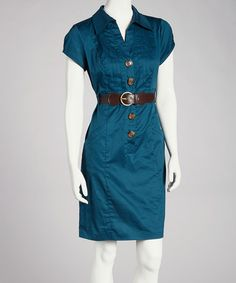 Take a look at this Teal Belted Short-Sleeve Dress - Women by Robbie Bee on #zulily today!