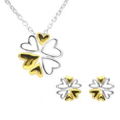 Sterling Silver Yellow Gold Heart SnowflakeTwo Piece Set A perfect gift for a loved one, this beautiful gift set featuressnowflakes made up of heart shaped segments created from sterling silver with yellow gold plated detail to complement the design.Comprising of a pair ofstud earrings, and necklace, complete with an 18 inch sterling silver chain. All items can be sold separately. All our silver jewellery is designed and crafted within our very own workshop, where a team of skilled craftsmen Christmas Gift Sets, Christmas Wishes, Silver Jewellery Online, Silver Jewelry, Two Piece Sets, Heart Of Gold, Sterling Silver Chains, A Team, Heart Shapes