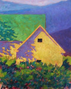 """My hometown of Amherst New Hampshire maintains much of its rural, farming landscape, while new development sprouts up regularly. Nice to not have to look far for subject matter, as in this piece, """"Ridgelines"""" 30 x 24, based on an old farm on the other side of Walnut Hill, looking across to the hills of Wilton and the Monadnocks."""