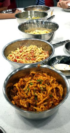 Italian Pasta making with many sauces, fun class at WIS