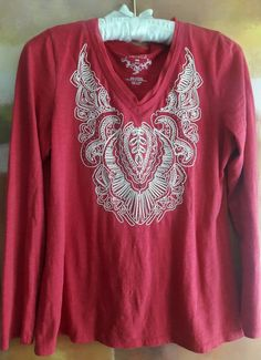 BOHO PEASANT INDIE PAISLEY EXOTIC EMBROIDERED BEADED SHIRT TOP LONG SLEEVE P M  #Sonoma #Blouse #Casual