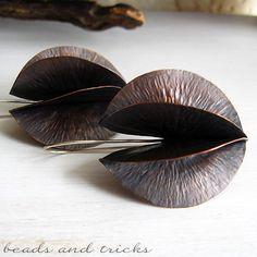 Orecchini foldforming in rame e argento 925