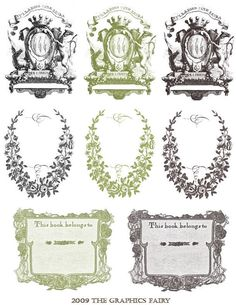 Free Printable - Vintage Bookplates - The Graphics Fairy