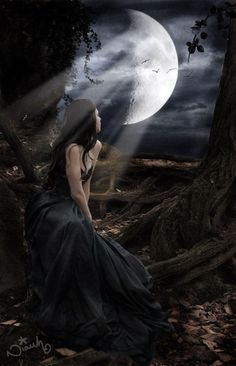 Angel After Dark. Top Gothic Fashion Tips To Keep You In Style. Consistently using good gothic fashion sense can help Dark Fantasy Art, Fantasy Girl, Dark Gothic Art, Beautiful Dark Art, Moon Goddess, Moon Art, Gothic Beauty, Full Moon, Art Girl