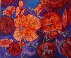 """défi """"mon coin de paradis"""" tableau fluo """"flowers ghosts"""" : Peintures par babslight"""