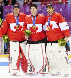 Team Canada goalies Mike Smith, Carey Price, and Roberto Luongo at the Sochi 2014 Olympics Olympic Hockey, Women's Hockey, Blackhawks Hockey, Hockey Players, Hockey Room, Hockey Rules, Hockey Stuff, Montreal Canadiens, Mtl Canadiens