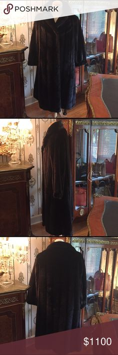 Timeless Luxury Full Length Ranch Mink Fur Coat Purchased from Henig Fur Boutique paid $10,000 in 1987. Cuffed sleeves, 3 Hook & Eye Closure, Fur button at neck, Wide coat collar, 2 slit side pockets, silk inner lining. Excellent condition. Non smoking home. I wear a size 10 jacket and it fit 10-14 with ease Jackets & Coats Trench Coats