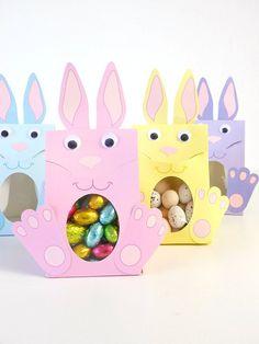 Boîtes Cadeaux Lapin de Pâques (paquet de 4 coloris)