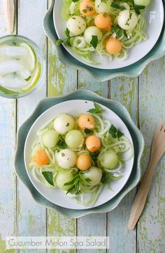 Cucumber Melon Spa Salad - Light, refreshing, and juicy -- perfect to stave off the summer heat. Omit the oil, and sweeten with stevia for Phase 1.