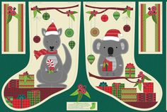Australian Christmas Stockings - these have inspired me to design some quilted ones with my own patterns. Aussie Christmas, Australian Christmas, Christmas Past, Christmas Holidays, Christmas Wreaths, Christmas Ideas, Xmas Crafts, Book Crafts, Australian Animals