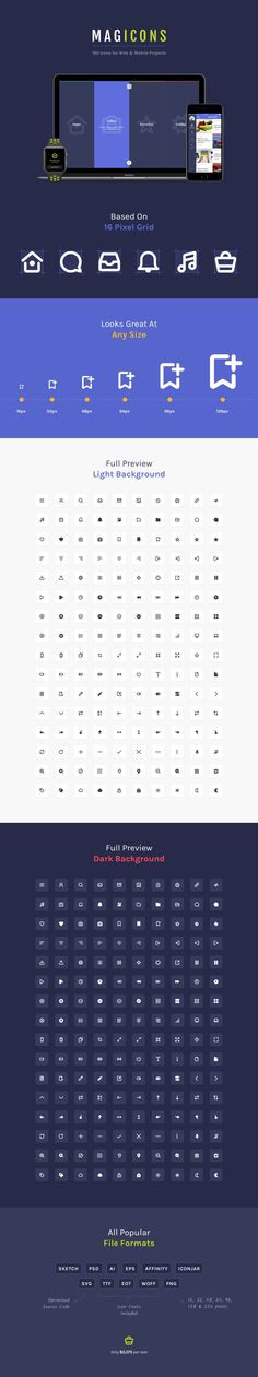 160 Crisp icons for web and mobile projects. Based on 16px grid size and available in many different formats: SVG, PSD, AI, EPS, Sketch, Affinity, IconJar, TTF, EOT, WOFF, PNG. This is a must have icon set for every designer and developer. Individual SVG Files include a black & white version, and clean optimized code.