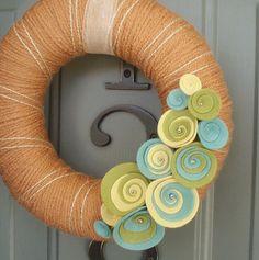 Yarn Wreath Felt Handmade Door Decoration - Coral Reef 8in