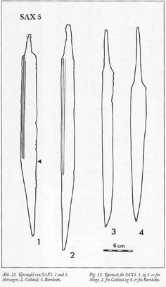 Sax5: OAL 32-55 cm, Blade L 22.5-45, W 2.2-3.0, Ratio blade L/W 12.7 Mid 8th C, Only non-Scandinavian finds are in Viking areas of England & Russia