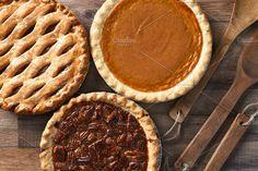 Pecan Apple and Pumpkin Pies. Food & Drink Photos