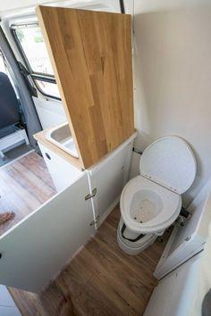 35 Creative RV Storage Ideas For A Small Bathroom Organization Sprinter Camper, Small Bathroom Organization, Bathroom Storage, Bathroom Faucets, Camper Bathroom, Bathroom Layout, Bathroom Ideas, Kombi Home, Camper Van Conversion Diy