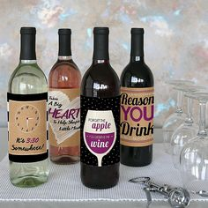 Teacher Appreciation Gift - Wine Bottle Labels Stickers - Set of 4 | BigDotOfHappiness.com