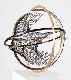 En suspension lumière j'adorerai ''''Timo Nasseri Kaon Brass, wood, rubber strings 49 x 49 x Sculpture Metal, Geometric Sculpture, Modern Sculpture, Sculpture Ideas, Brass Wood, Kinetic Art, Wire Art, Installation Art, Geometric Shapes